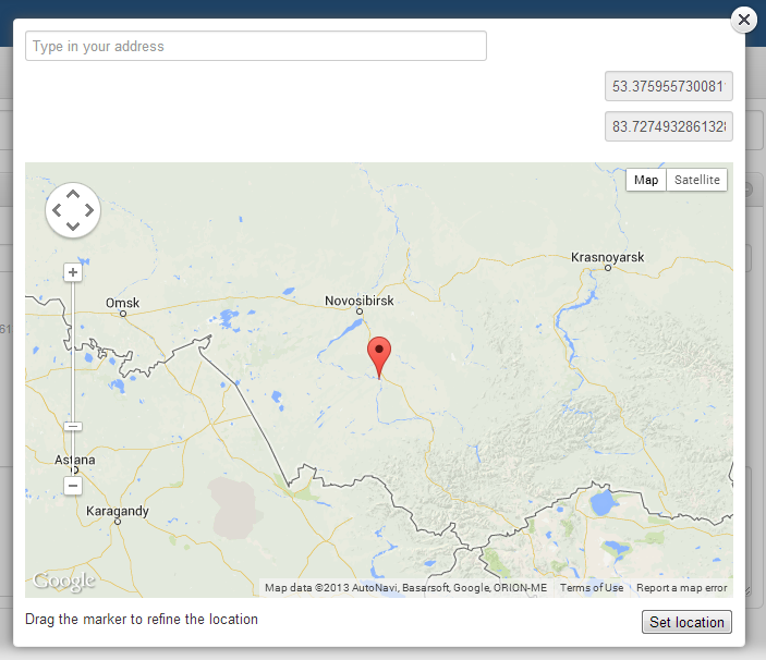 Карта гугл с координатами